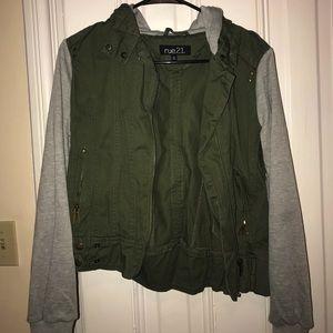 Hooded Denim Jacket with Sweatshirt Sleeves